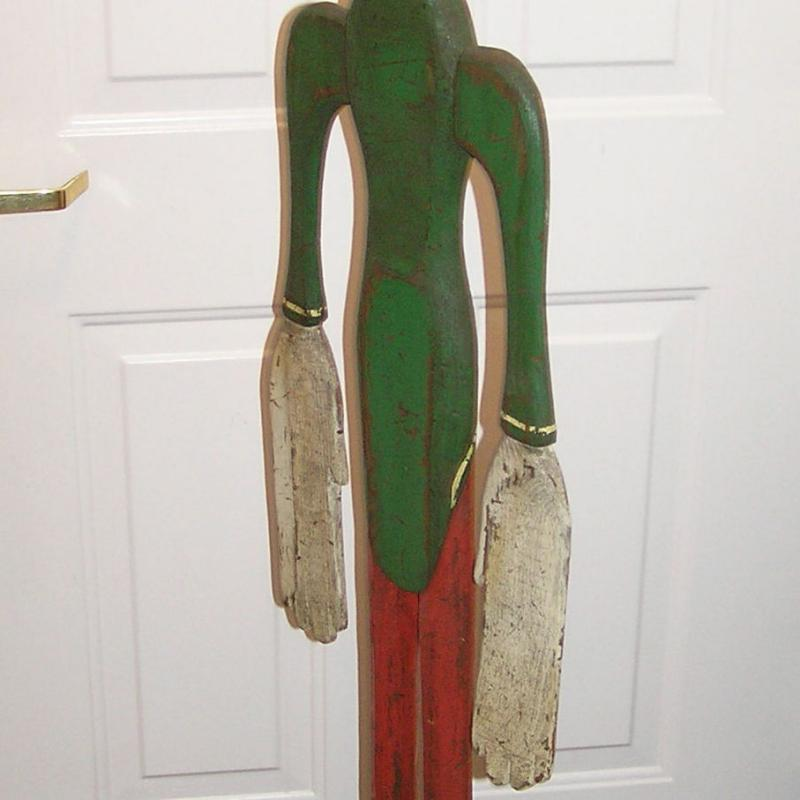 Antique Wooden Carved and Painted Clown Whirligig