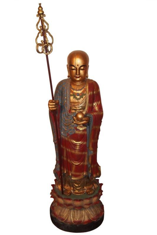 Bodhisattva Jizo Ksitigarbha Polychrome Wooden Statue (50 in, 127 cm)