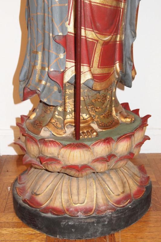 Carved Wooden Figure of Bodhisattva Jizo (Ksitigarbha)