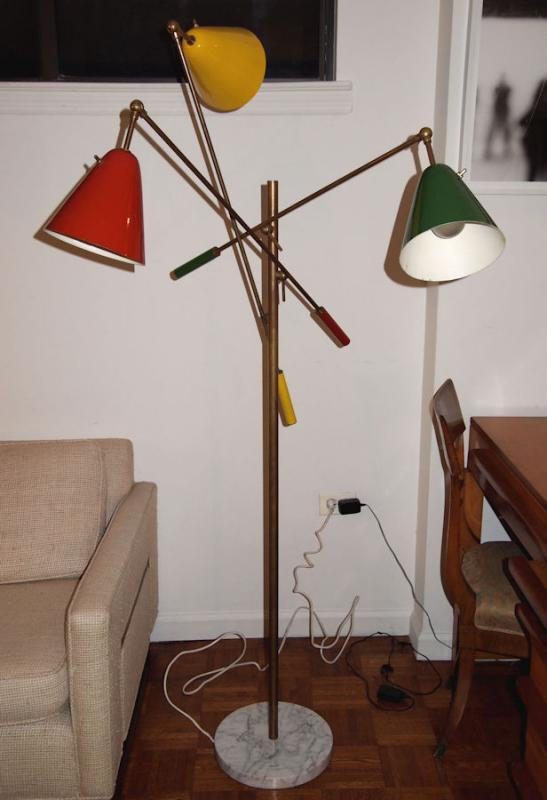 Mid-Century Modern Floor Lamp After Angelo Lelli Triennale for Arredoluce