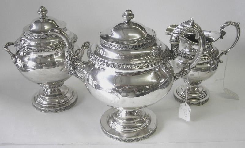 Antique Bailey & Kitchen Silver Tea Set Circa 1840