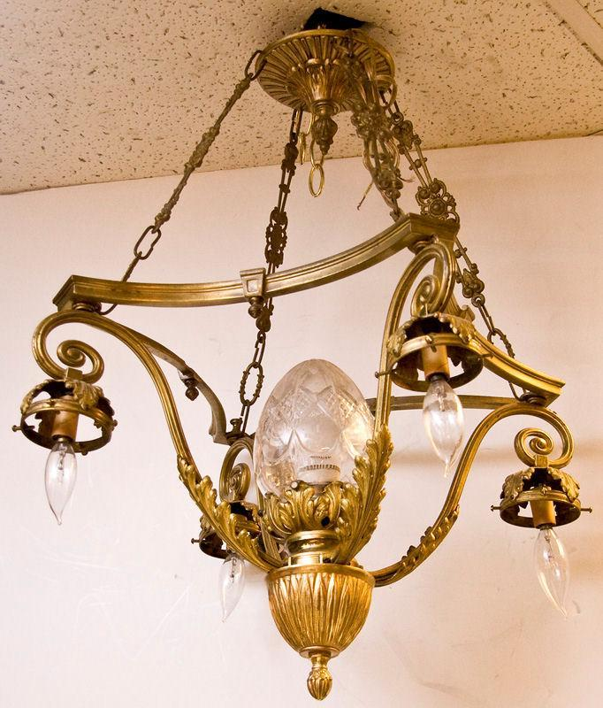 Antique French Louis XVI English Neoclassical Style Bronze Chandelier