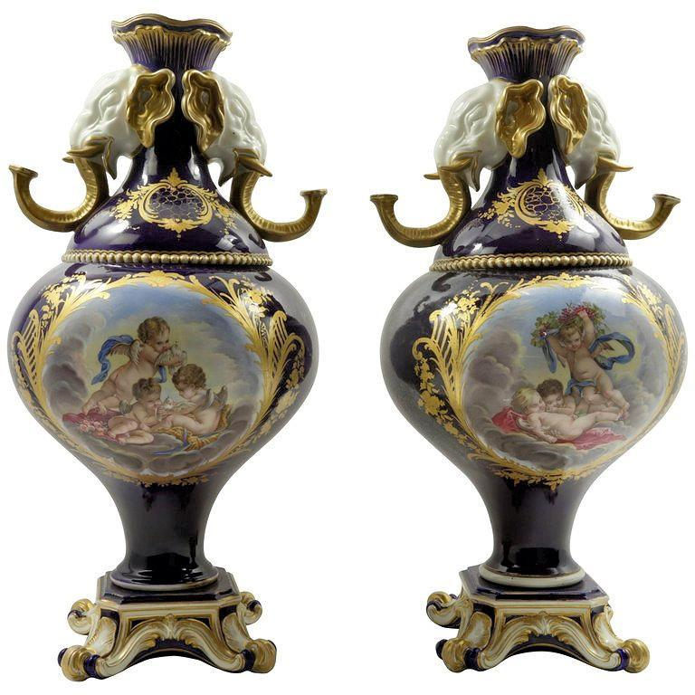 Pair Antique Sevres Style Porcelain Vases with Elephant Handles
