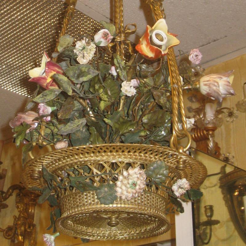 Louis XV Style Bronze and Porcelain Tulip Bouquet Form Chandelier