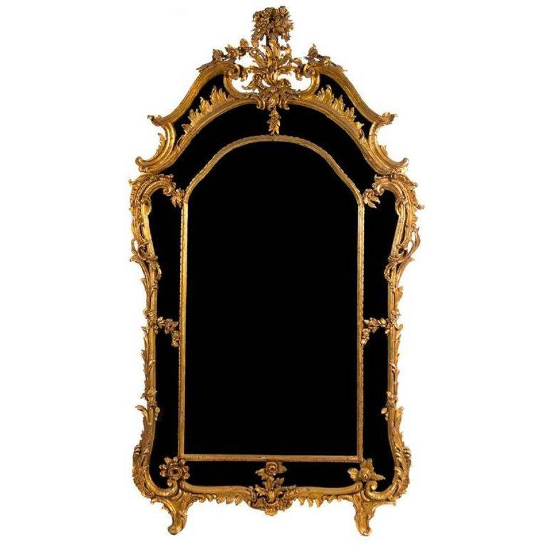 Antique Rococo Louis XV Chippendale Style Giltwood Mirror