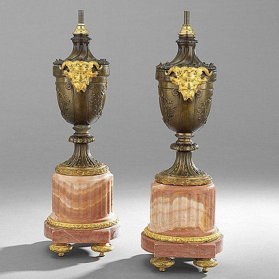 Pair Antique French Louis XVI English Georgian Style Gilt Bronze and Marble Table Lamps