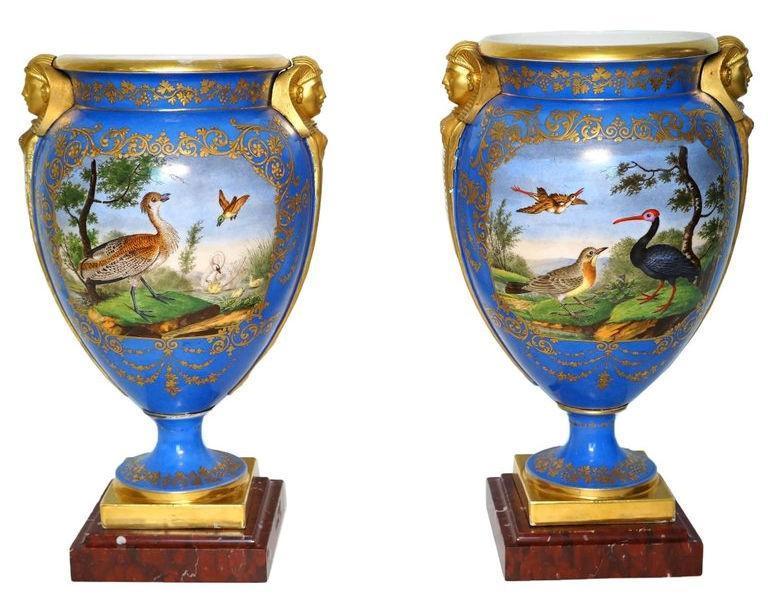 Pair Antique Paris Porcelain Egyptian Revival Vases