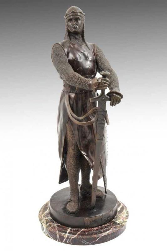Le Preux Bronze Sculpture of Medieval Knight by Maurice Favre (1875-1915)