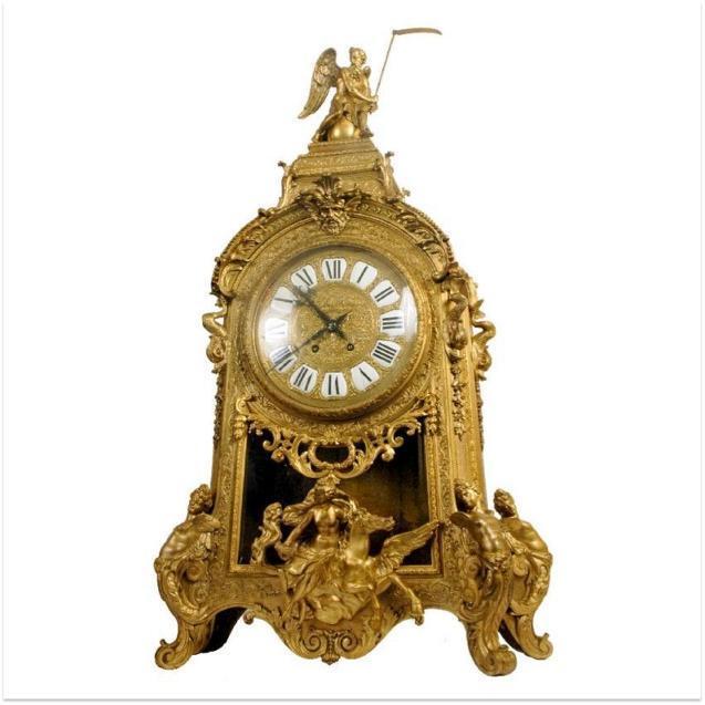 French Louis XIV Style Ormolu Bronze Mantle Clock