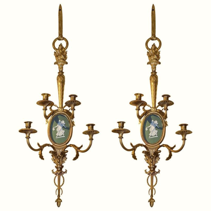 Antique Louis XVI Style Gilt Bronze and Jasper Porcelain Sconces