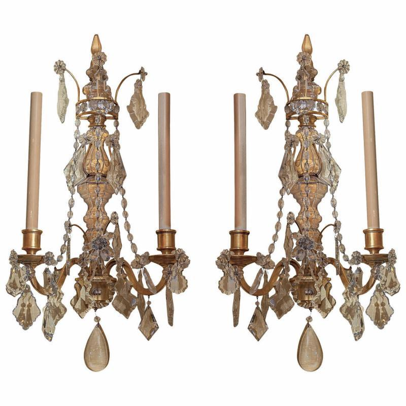Pair Antique Crystal Glass and Gilt Metal 2-Candle Sconces