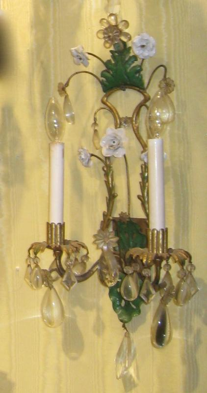 Set of Four (4) Gilt Metal and Floral Porcelain Sconces