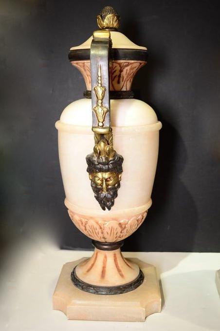 Pair Antique Neoclassical Alabaster Urns Vases