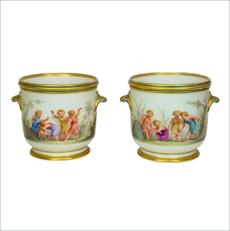 Pair Antique Paris Porcelain Hand Painted Cachepots