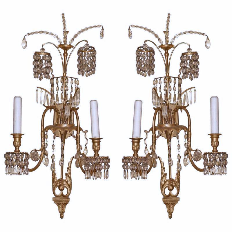 Pair Russian or Baltic Gilt Bronze and Crystal Sconces