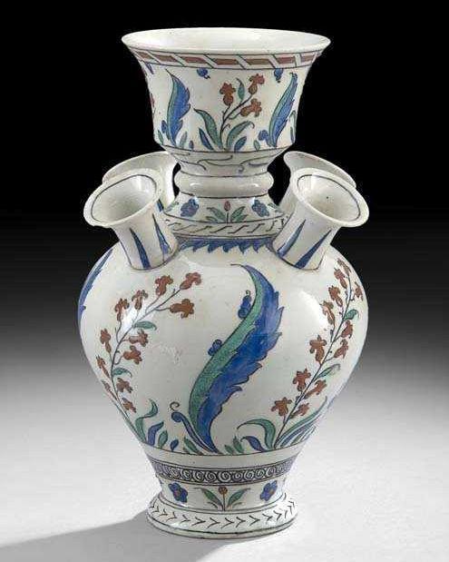 Iznik Style Ottoman Period Ceramic Tulipiere Flower Vase