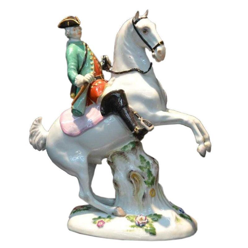 Antique Meissen Porcelain Solder of Horseback Figurine
