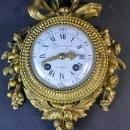 Antique Louis XVI Style Gilt Bronze Wall Clock and Barometer