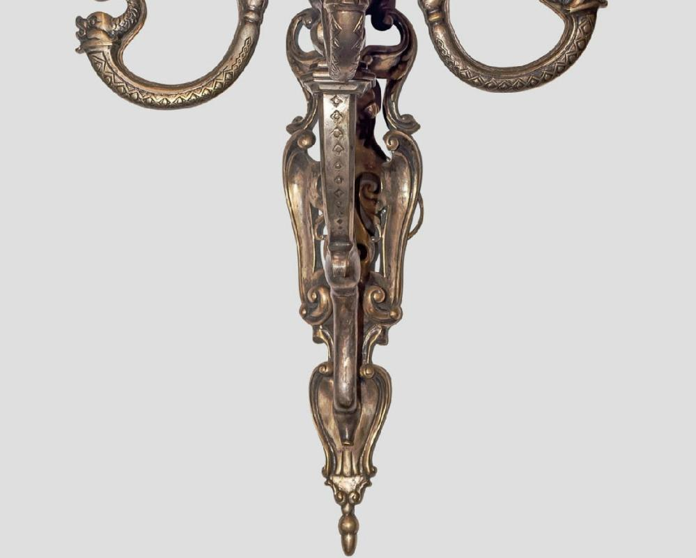 Pair Silvered Bronze Neoclassical Four-Candle Sconces