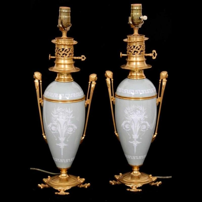 Pair Egyptian Neoclassical Pate-sur-pate Porcelain Table Lamps