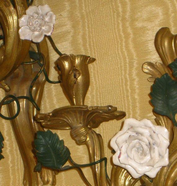 Pair Louis XV Style Gilt Bronze Floral Motif Sconces