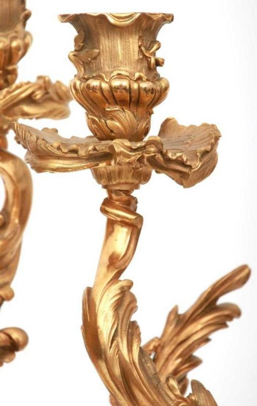 Pair Louis XV Style Figural Gilt Bronze Candelabra