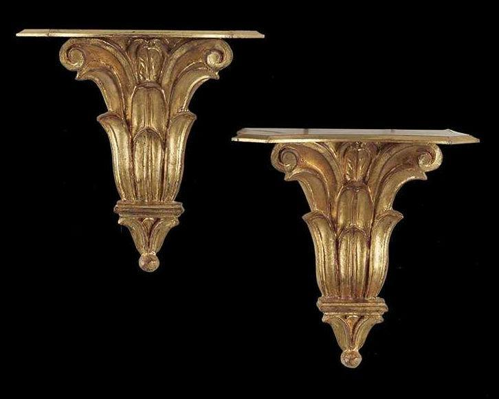 Pair Italian Neoclassical Giltwood Wall Brackets