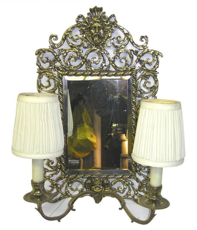 Renaissance Medieval Style Mirrored Brass Sconce