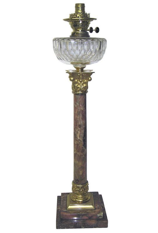 Greek Corinthian Column Marble Oil Lamp