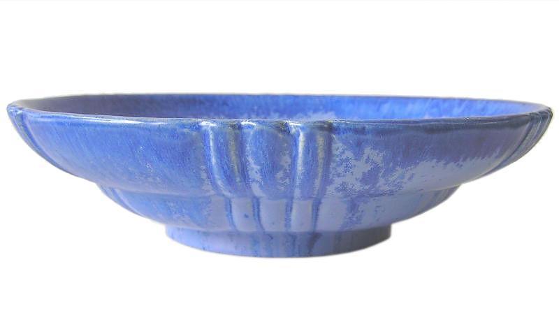 Fulper Blue Glazed Pottery Bowl