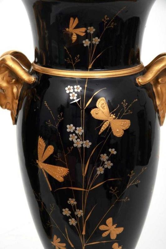 Pair Aesthetic Parcel Gilt Paris Porcelain Vases