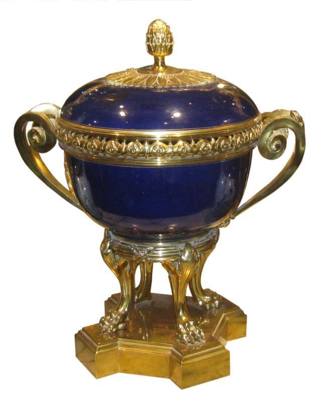 Sevres Style Cobalt Blue Porcelain and Bronze Potpourri Centerpiece