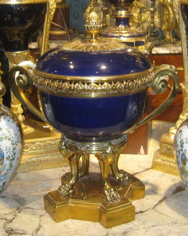 Sevres Style Cobalt Blue Porcelain and Bronze Potpourri Centerpiece