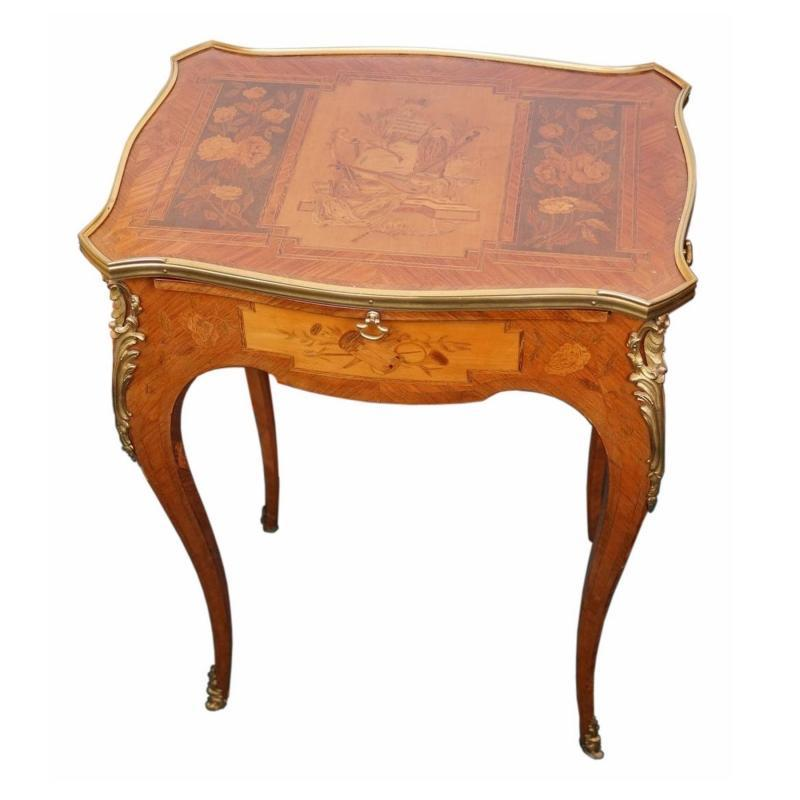 Antique French Louis XV Style Marquetry Inlaid Writing Table