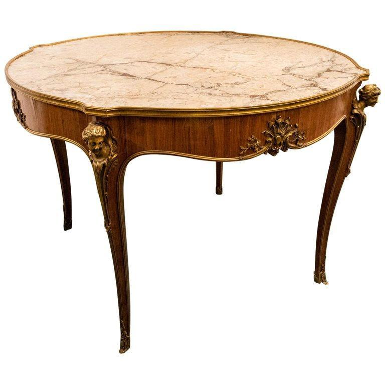 Louis XVI Style Bronze and Marble Center Table
