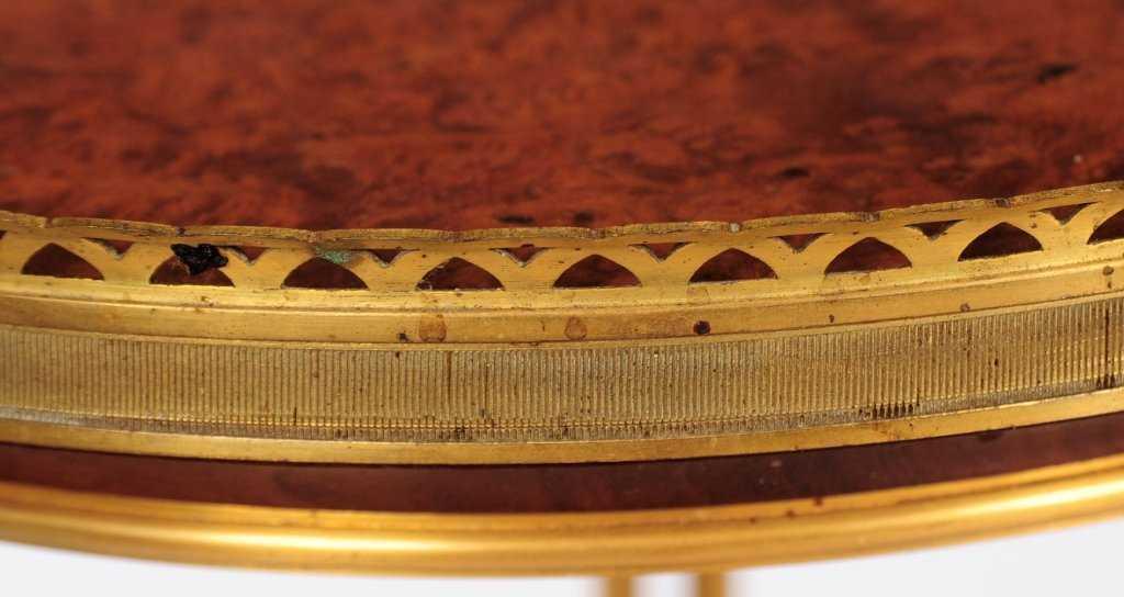 Louis XVI Style Burlwood Gueridon Side Table After Adam Weisweiler