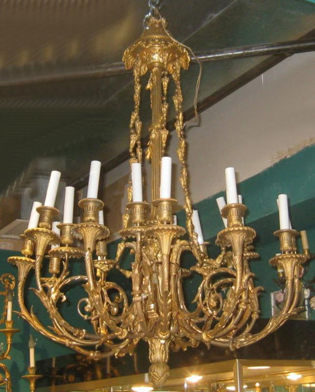 Louis XVI Style 18-Light Gilt Bronze Chandelier