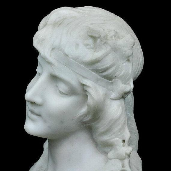 Antique Marble Bust Sculpture of Beautiful Female