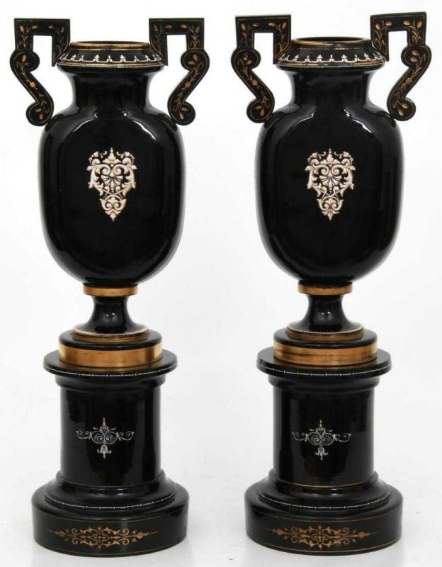 Pair Antique Continental Black Amethyst Glass Vases