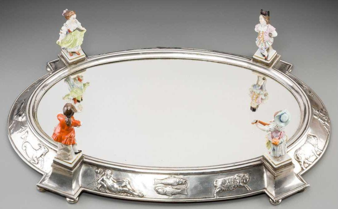 KPM Porcelain and Silver Plateau Surtout de Table