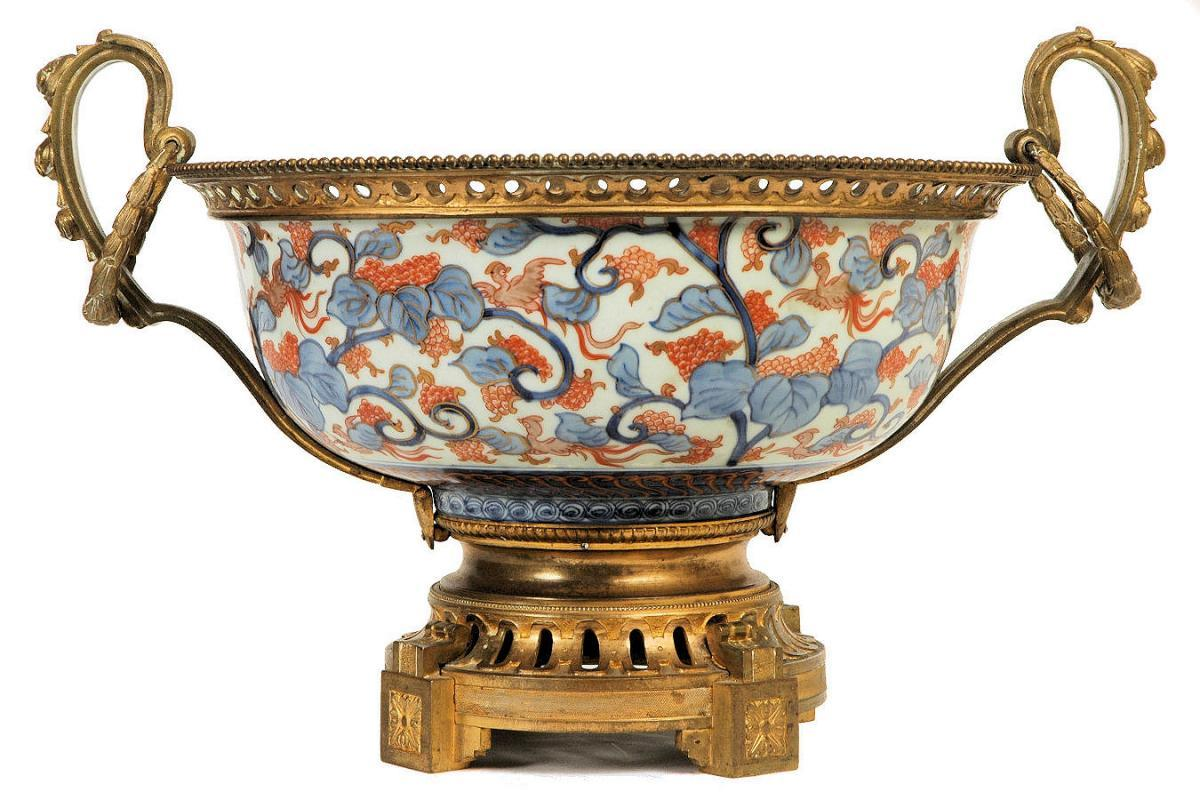 Antique Japanese Imari Centerpiece Bowl with Bronze Handles & Mounts