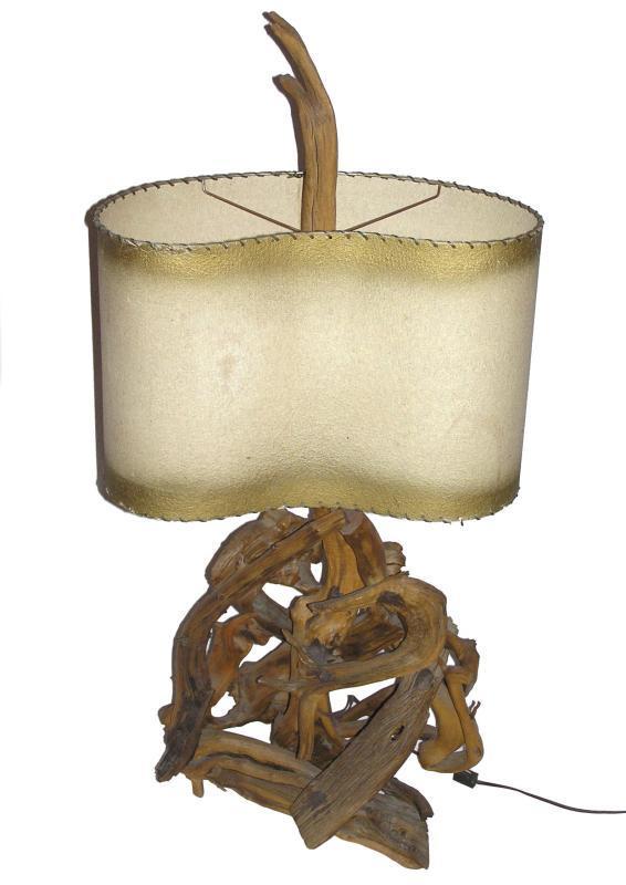 1950s Mid-Century Modern Vintage Driftwood Lamp with Original Vellum Shade