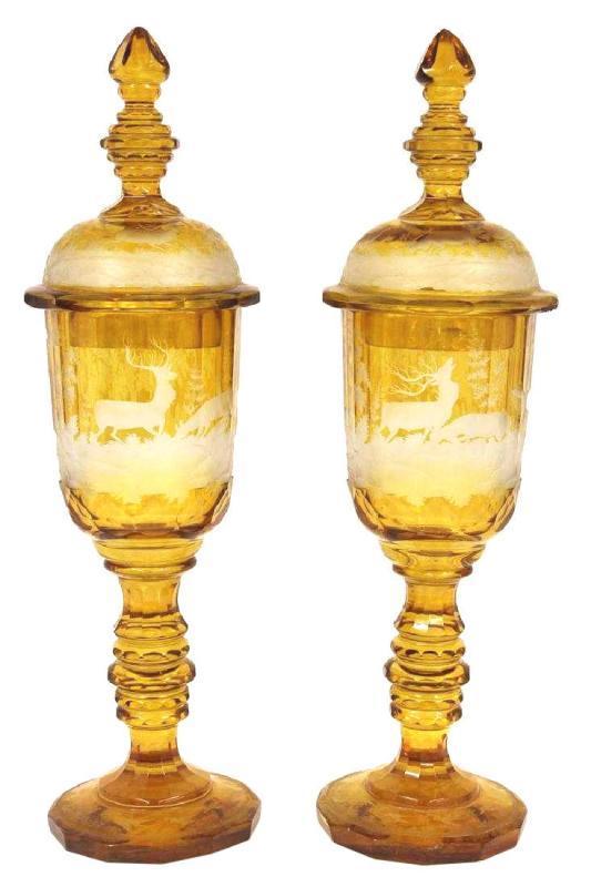 Pair Antique Bohemian Amber Glass Pokals