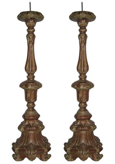 Pair Ecclesiastical Wooden Candle Stands
