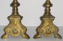 Pair Antique Bronze & Brass Candlesticks