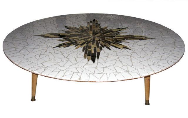 Mid-Century Modern Circular Tiled Coffee Table
