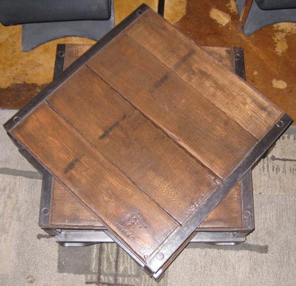 Set 4 Wooden & Steel Pallet Cocktail Tables