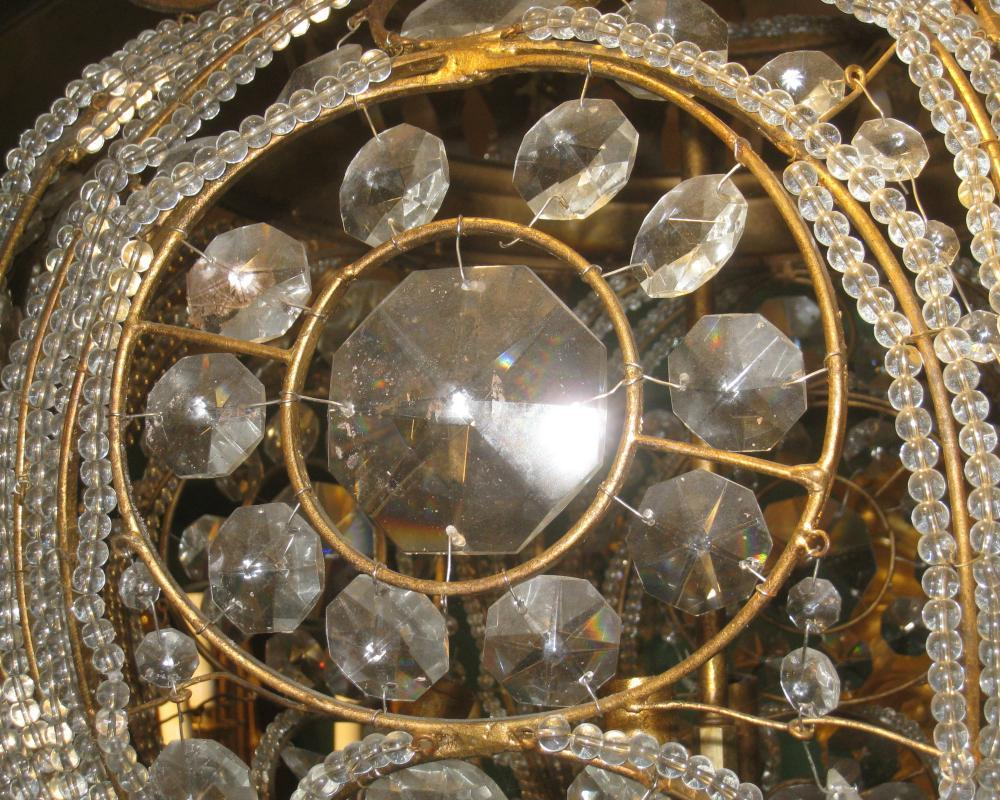 French Bagues Style Spherical Gilt Metal and Crystal Chandelier