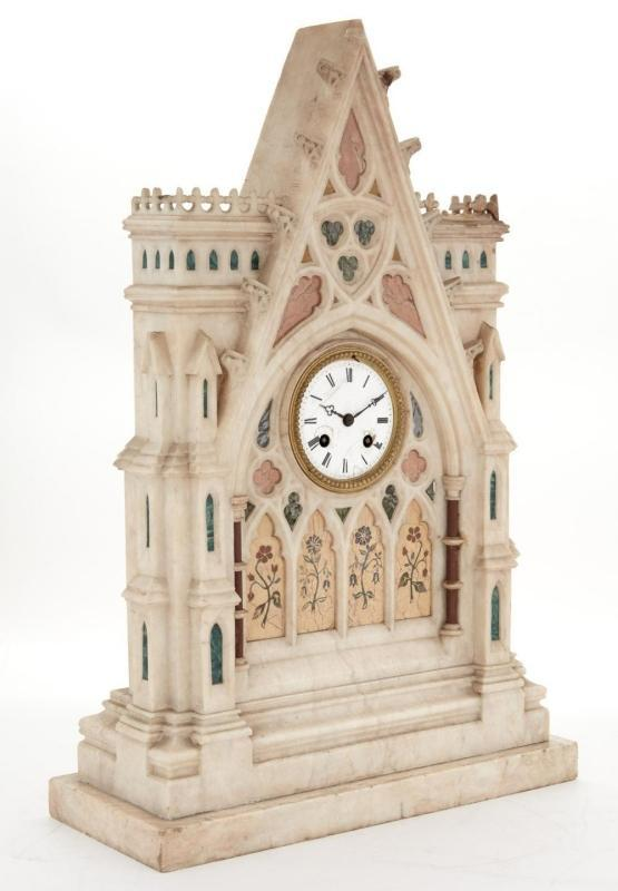 French Gothic Style Marble Mantel Clock