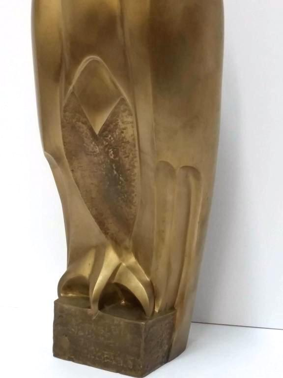 Bronze Falcon Sculpture in Art Deco Style